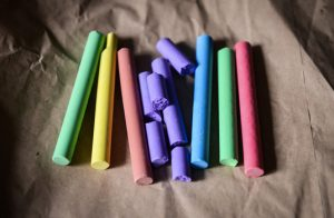 A line of chalk in different colors