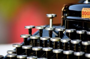 Close-up view of the keys on an old-fashioned typewriter