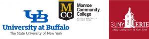 University at Buffalo, Monroe CC, SUNY Erie logos