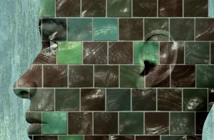 Human face in profile, split up into blocks like pieces of tile