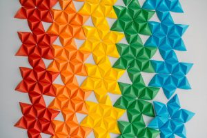 Triangles in rainbow colors