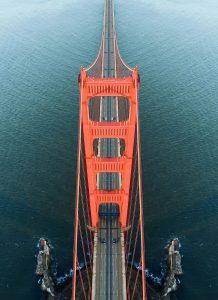 Overlooking a bridge and water