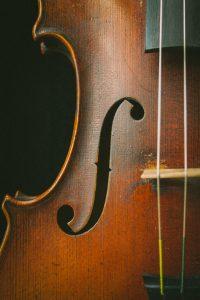 Close up of a violin's base