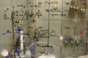Chemistry notes and images written on a glass pane fronting a Chemistry lab.